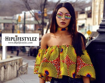 Off the Shoulder African Print Flare top