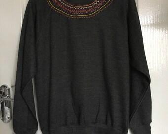 Beautiful Grey Hand Embroidered Sweatshirt