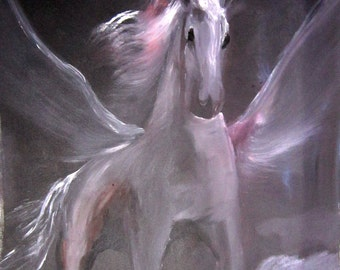 Original Oil Painting.Pegasus.Oil on canvas.Art Wall Decore.Best Price!SALE!Free Shipping!