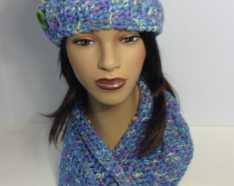 Pretty in Blue Floppy Hat and Scarf set