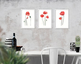 Poppies watercolor painting, Set of 3 prints. Flower print, Botanical art, Red poppy, Apartment decor, Red flower, INSTANT DOWNLOAD