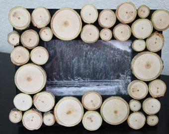 Rustic Picture Frame with Birch Wood Slices - Real Birch Wood