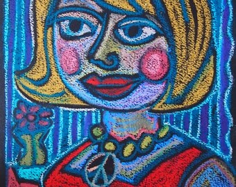 Strong Woman Retro Peace Oil Pastel Original drawing