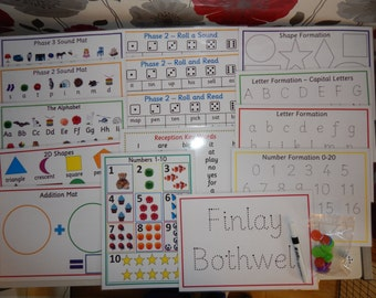 Starting School Pack - shapes, numbers, name, alphabet , phase 2 phonics - EYFS, Reception Class, Learning Resource