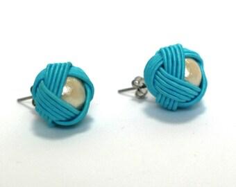 Mizuhiki and Cotton Pearl Earrings