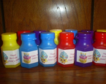 SHOPKINS set of 12 personalized Birthday party favor Bubbles