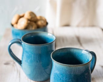 Ceramic mug set, SET OF 2, Unique turquoise tea cup set, Ceramic cup pottery, Coffee lovers gift, Gift for her, Valentine's day gift
