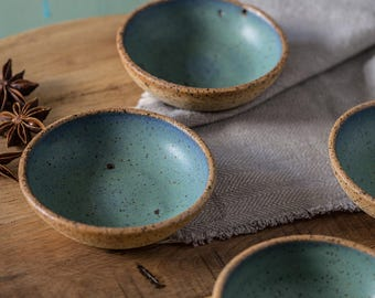 Small ceramic bowls SET OF TWO Spices bowls Blue and green serving dish : tapas plates bowls set - pezcame.com