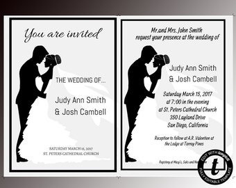 Wedding invitation, wedding invitation template, wedding template, editable, DIY wedding templates, formal, black and white