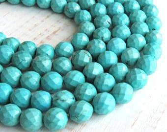 Faceted Magnesite, 10mm beads, full strand, turquoise Magnesite, blue turquoise beads, blue magnesite, blue beads, 10mm blue beads
