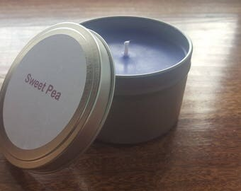 Sweet Pea 8 oz tin soy candle