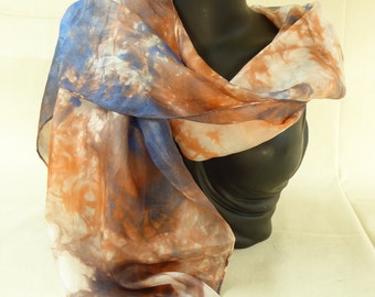 Hand dyed silk scarf, (rust) Brown, cream, blue.