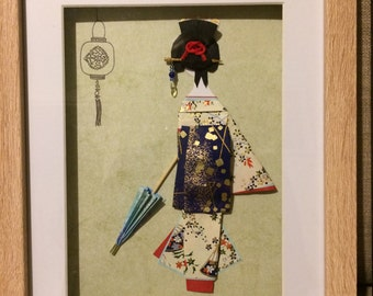japanese paper doll wall art in box frame