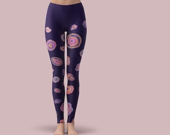 Athletic Yoga Pants / Crystal Yoga Pants / Long Yoga Pants / Purple Yoga Leggings  / Women's Yoga Pants / Agate Slice / Long Yoga Leggings