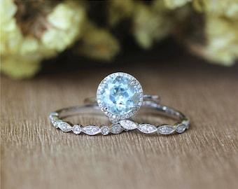 Fancy Natural 10mm Round Aquamarine Ring,Half Eternity Diamonds Band Set in 14K White Gold/Wedding&Engagement Ring/Promise Ring/Bridal Set