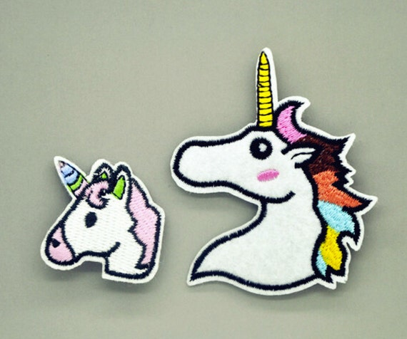 2pcs Unicorn Patches Iron On Sewing Embroidered Animal Applique for Jacket Clothes Stickers Badge DIY Apparel Accessories