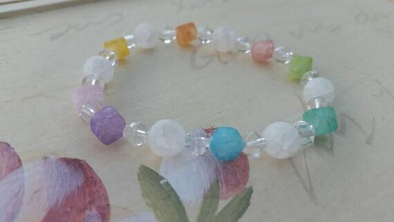 Rainbow quenched crackle quartz bracelet