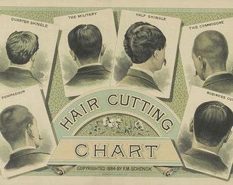 Mens Hair Style Chart, Men's Hair, Barber Stylist, Bathroom Decor, Bedroom Decor, Wall Art, Wall Print for Men's Room