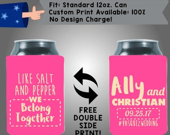 Like Salt And Pepper We Belong Together Collapsible Fabric Wedding Can Coolers, Cheap Can Coolers,  Wedding Favors (W289) LGBTQ Coolers