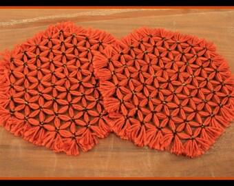 Set of 2 Homemade Loom Hot Pad, Rust Orange Hot Pads, Loom Hotpads, Trivets