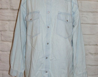 Size 14 16 vintage 80s oversize popper western shirt bleach blue denim (HE54)