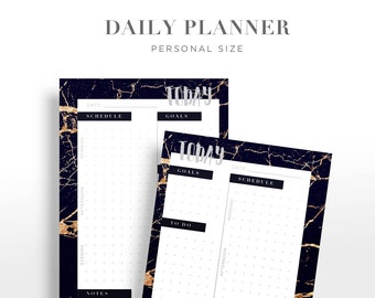 Daily Planner Black Gold Marble Personal Sized Insert Grid Perpetual Pattern instant download Digital Printable