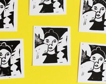 Monstera Girl • Little Card Blockprint