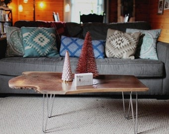 sold! Dark walnut live edge coffee table with hairpin legs