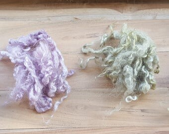 Handmade raw mohair with dyeing plant