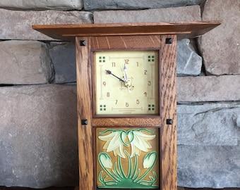 Prairie Mantel Clock in White quarter sawn oak and ebony