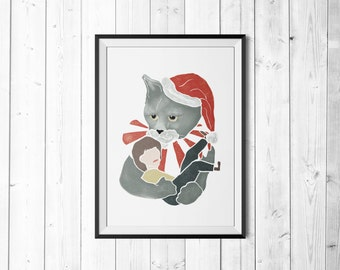 Christmas Cat - Poster - Poster - Print - A4
