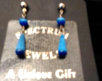 women classic ear drops, blue catseye, sterling ball post,