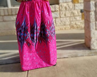 Fushia Pink Multicolored African Gathered Maxi Skirt; African Skirt Ankara Maxi Skirt; African Clothing; Pink Skirt; Ready To Ship