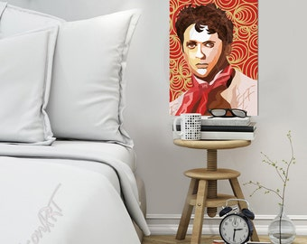 "Portrait ""Dylan"" Tribute To Dylan Thomas - FRAMED ART, Literature, iconArt, Poem, Personalized Gift, Name, For Women, For Men, For Grandma"