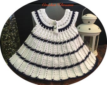 Baby girl dress Crochet dress Baby shower gift Newborn baby dress  White baby dress Baby girl outfit Birthday baby dress  Christening