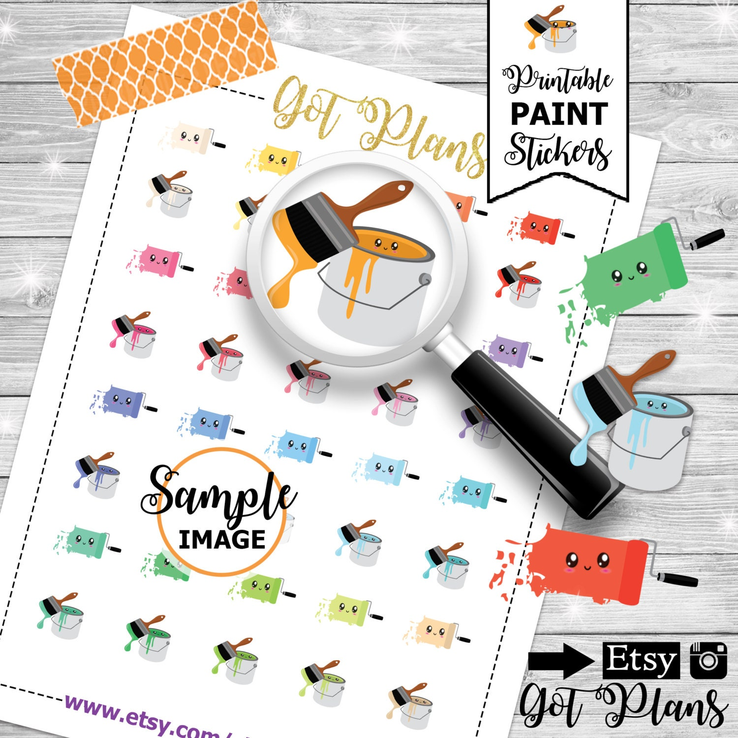 Paint planner stickers printable planner stickers for Paint planner