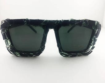 crystalized bling beauty black gloss glass frame sunglasses