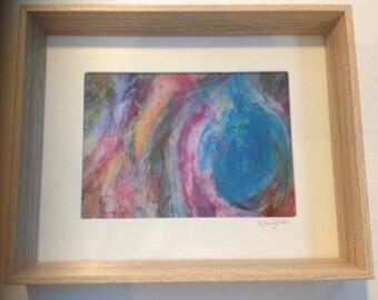 Photographic Framed Print, Acrylic Abstract Painting, Original Rainbow Fine Art, Spiritual Christian Art, Birthday Confirmation Gift