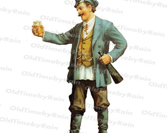 Instant PNG Digital Download/Vintage Illustration/PNG File/Vintage man/Drunkard/A man with a bottle and glass/