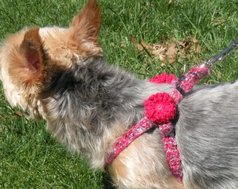 Sparkle n Shimmer Adjustable Crochet Step In Dog Harness/Collar Blue With Silver Sparkle - Small