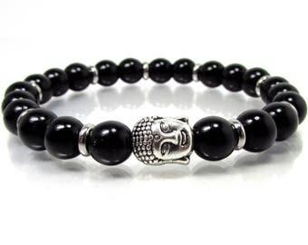 Onyx Gemstone Bracelet 8 mm beads,Buddha Bracelet,Men Bracelet,Mens Bracelet,Men Gemstone Bracelet,Bracelet for Men,Beaded Bracelet