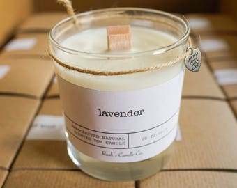 Wood Wick Soy Candle w/ Heart Charm