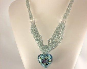 Blue heart glass pendant glass bead necklace