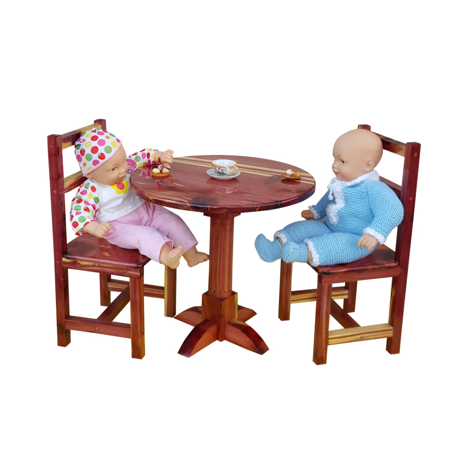 Table and 2 chairs set dolls furniture AG American doll