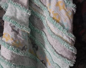 baby rag quilt,strip rag quilt,lap quilt neutral baby blanket,flannel baby blanket, ready to ship