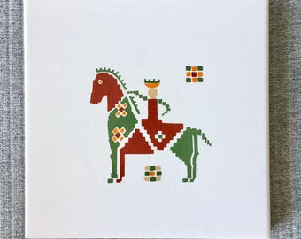 Retro King on Horse Geometric Tile and Cork Trivet