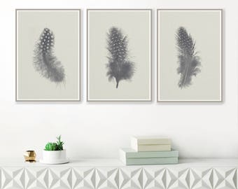 A set of Three Minimalist Feather Prints, Grey Wall Art, Guinea Fowl Feather Printa, Instant download art, Printable Minimal Art
