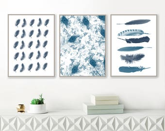 Printable Gallery Wall, Blue Feather Prints, Printable Wall Art, Contemporary Gallery Wall, Minimal, Modern Wall decor
