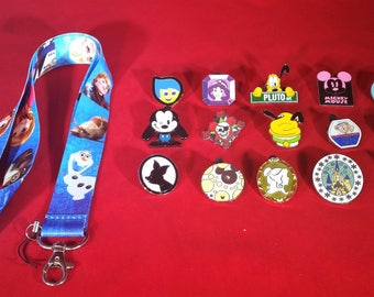 Disney Combo- 15 Assorted Pins + Lanyard