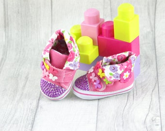 Baby Girl Shoes Soft Sole Flower Pink Spring3-6 months